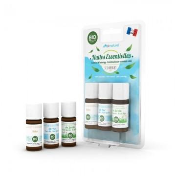 Pack de trois synergies d'huiles essentielles Bio
